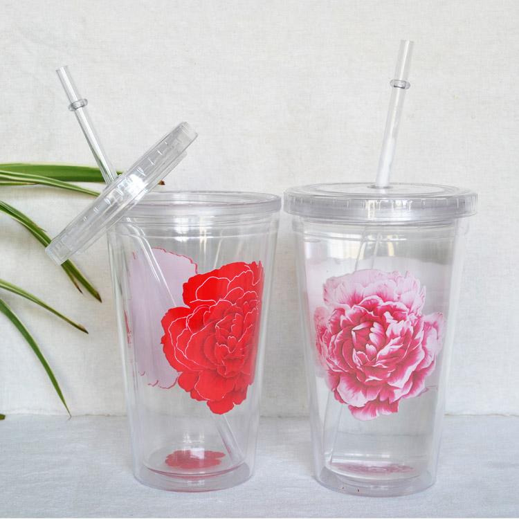 牡丹塑料冷变色杯